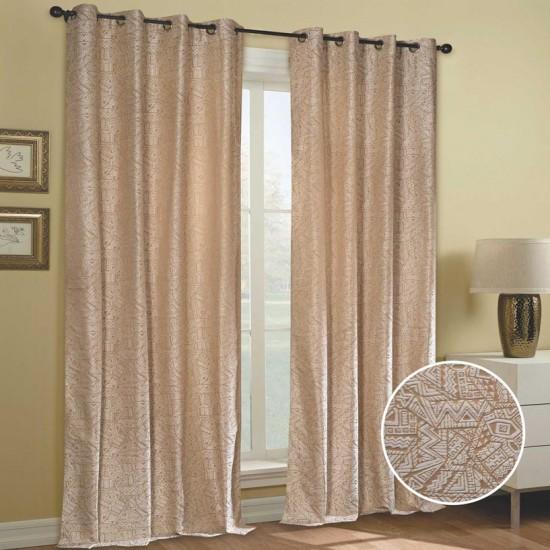 "Curtain (Set of 2) Random Zig 52"" x 90"" Ivory"