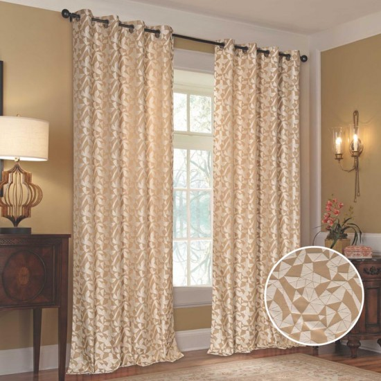 """Curtain (Set of 2) Polygon Hive 52"""" x 108""""  Ivory"""