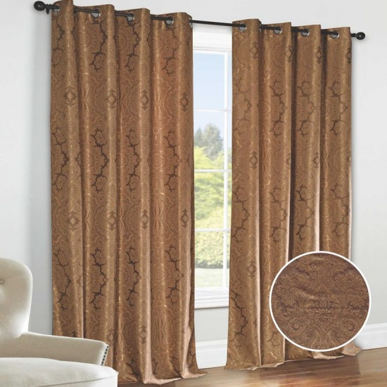 "Curtain (Set of 2) Luxe Bouquet 52"" x 90"" Chocolate/Gold"