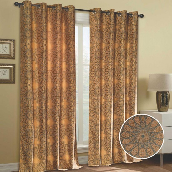 "Curtain (Set of 2) Gravel Sun 52"" x 90"" Sun Flower"