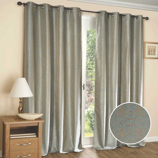 "Curtain (Set of 2) Paisley Lattice 52"" x 90"" New Turquoise"