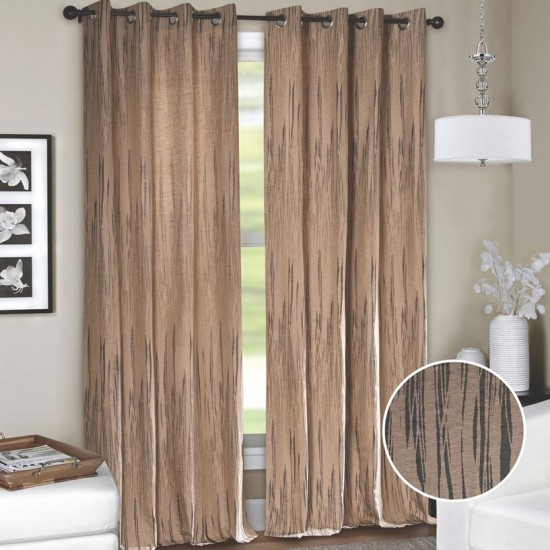"Curtain (Set of 2) Dark Wood 52"" x 60"" Grey"