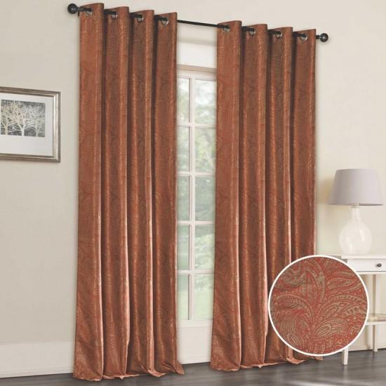 Curtain Floral Splendour (Set of 2) Orange