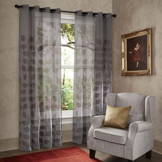 """Curtain Sheer Yamini 90"""" Grey(Set of 2) (Curtain)"""