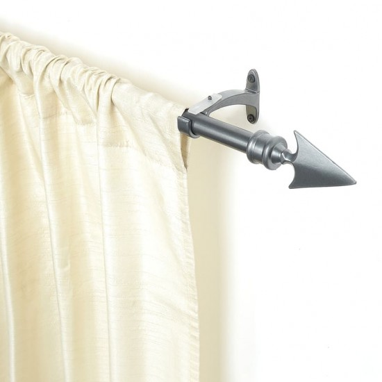 "Flat Arrow 19mm 66""-120"" Charcoal (Curtain Rod_lifestyle"