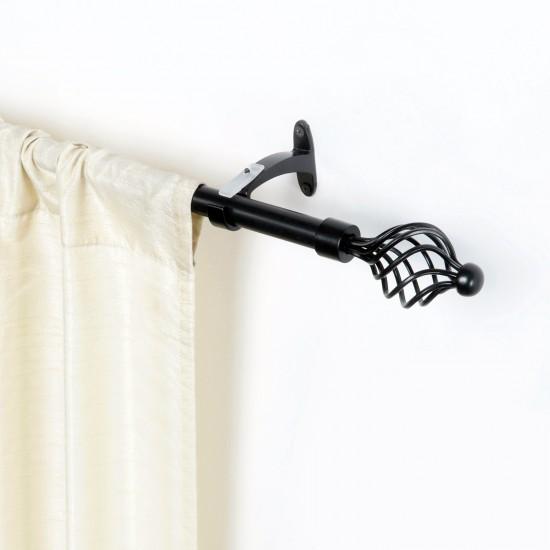 """Swirl Iron Curtain Rod Black Matt 36"""" to 66"""""""
