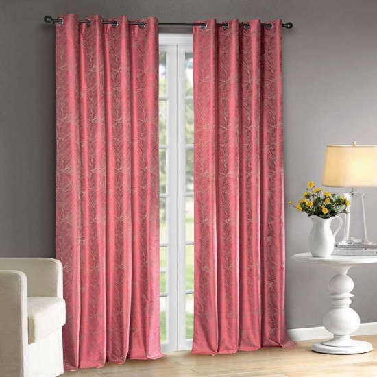 """Curtain Eyelet 52"""" x 108""""Abstract Line Pink YerrowS/2"""
