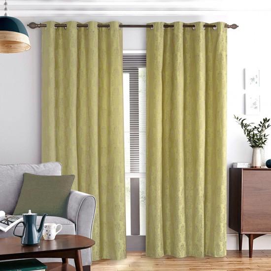 "Curtain Eyelet 52"" x 90"" Damask Mono Lime Green S/2"