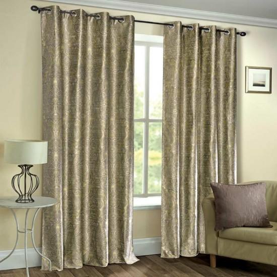 """Curtain Eyelet 52"""" x 90"""" Damask Uni Fossil S/2"""