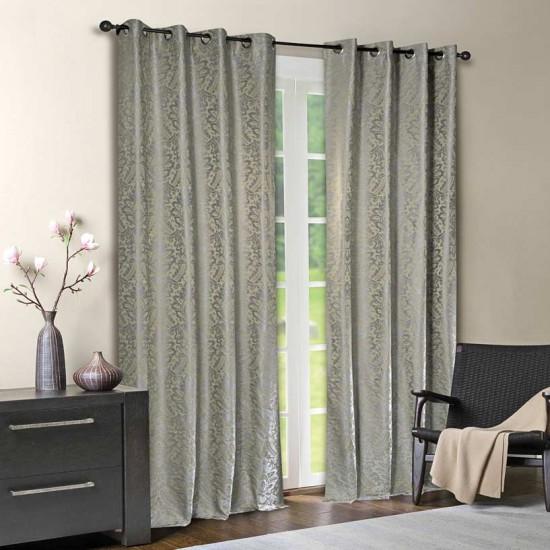 """Curtain Eyelet 52"""" x 90"""" Damask Leaf Matellic Grey S/2"""