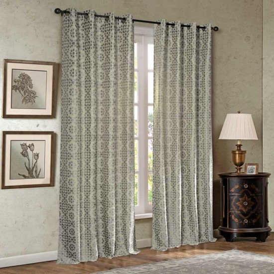 "Curtain Eyelet 52"" x60"" Trellis Geo Matellic Grey S/2"