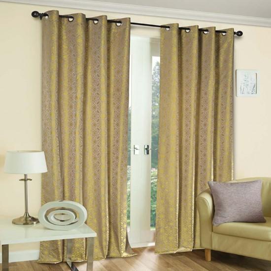"Curtain Eyelet 52"" x 60"" Trellis Hexa Mimosa S/2"