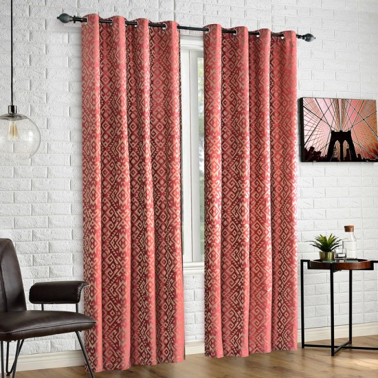 "Curtain Eyelet 52"" x 108"" Trellis Uni Pink Yerrow S/2"