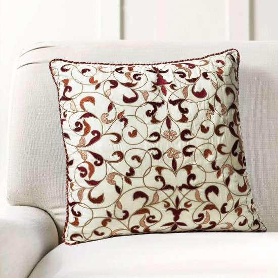 "Cushion Cover Bel Embroidery 16""X16"" Aporange"