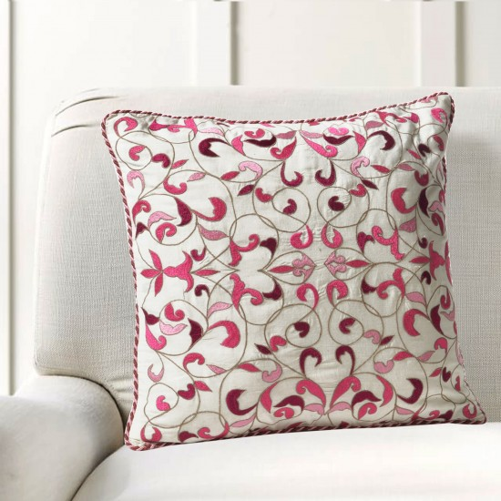 "Cushion Cover Bel Embroidery 16""X16"" Candy Pink"