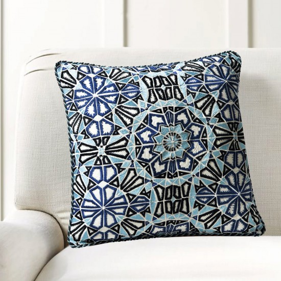 """Cushion Cover Kaleidoscope Embroidery 16""""X16"""" Navy"""
