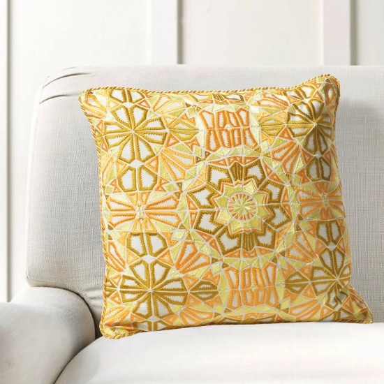 """Cushion Cover Kaleidoscope Embroidery 16""""X16"""" Mimosa"""