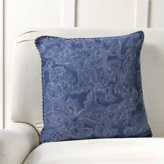 """Cushion Cover Paisley Uni Embroidery 16""""X16"""" Navy"""