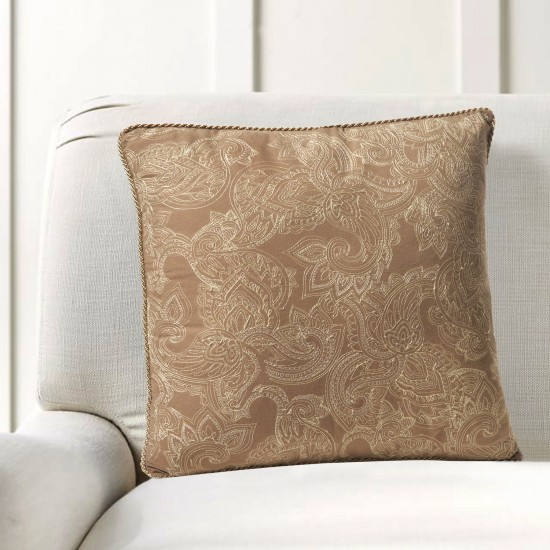 """Cushion Cover Paisley Uni Embroidery 16""""X16"""" Fossil"""