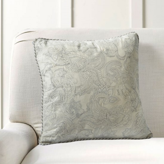 "Cushion Cover Paisley Uni Embroidery 16""X16"" Grey Morn"
