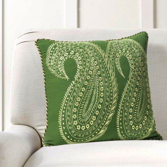 """Cushion Cover Duo Paisely Embroidery 16""""X16"""" Treetop"""