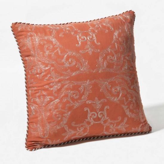 "Cushion Cover Ornate Zari Embroidery 16""X16"""