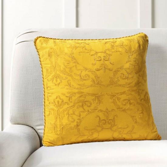 "Cushion Cover Ornate Zari Embroidery 16""X16"" Mimosa"