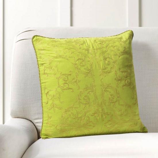 """Cushion Cover Ornate Zari Embroidery 16""""X16"""" Lime Green"""