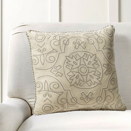 """Cushion Cover Orient Embroidery 16""""X16"""" Grey Morn"""