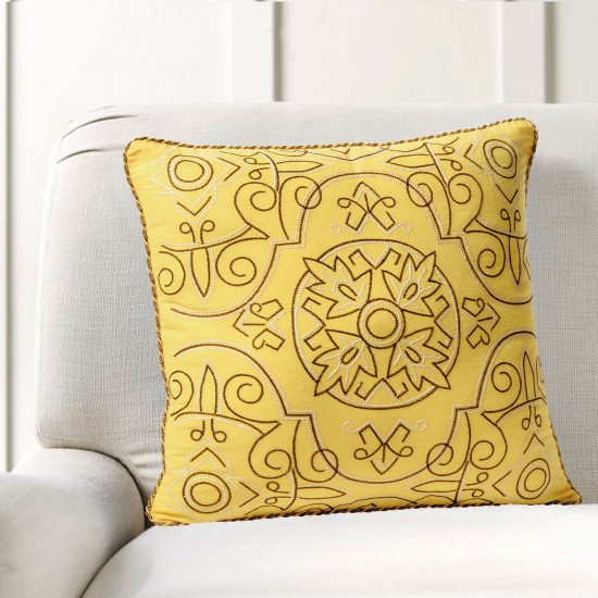 """Cushion Cover Orient Embroidery 16""""X16"""" Mimosa"""