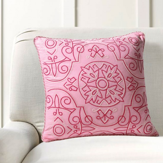 """Cushion Cover Orient Embroidery 16""""X16"""" Candy Pink"""