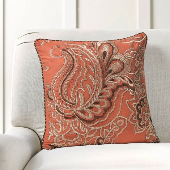 "Cushion Cover Floral Embroidery 16""X16"" Aporange"