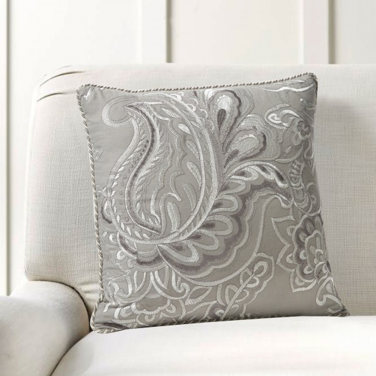 """Cushion Cover Floral Embroidery 16""""X16"""" Grey"""