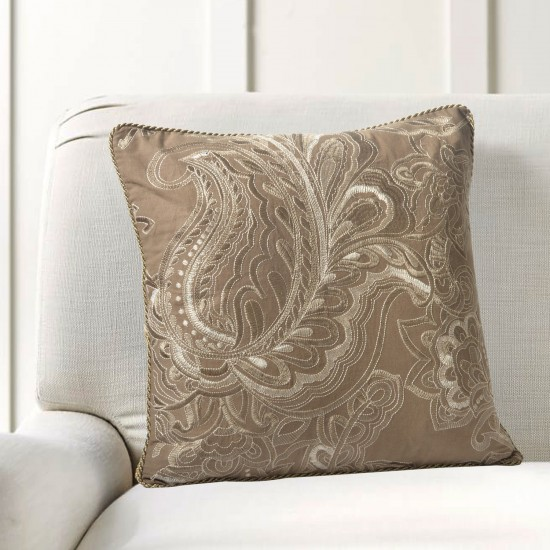"""Cushion Cover Floral Embroidery 16""""X16"""" Fossil"""