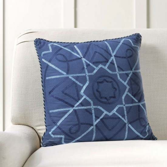 """Cushion Cover Celtic Embroidery 16""""X16"""" Navy"""
