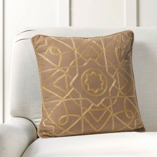 """Cushion Cover Celtic Embroidery 16""""X16"""" Fossil"""