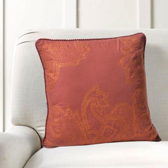 "Cushion Cover Paisley Leaf Embroidery 16""X16"" Aporange"
