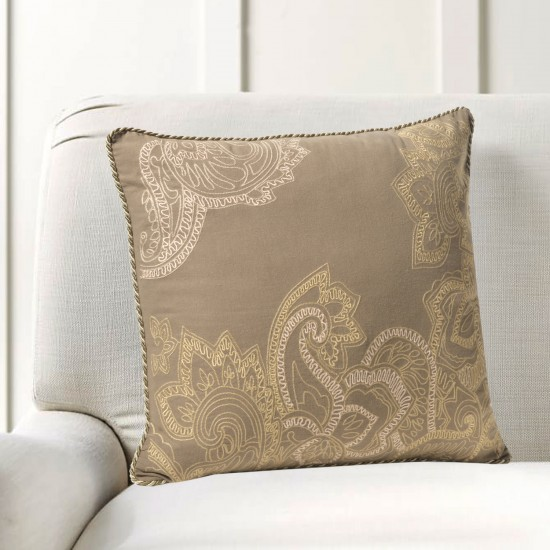 "Cushion Cover Paisley Leaf Embroidery 16""X16"" Fossil"