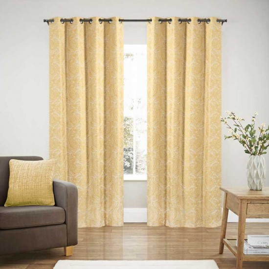 Curtain Blackout S/2 Linen Paisley Gold 108""