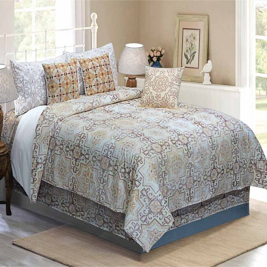 Bedding King Size 7 pc Set Modern Arabesque Lt Terracotta