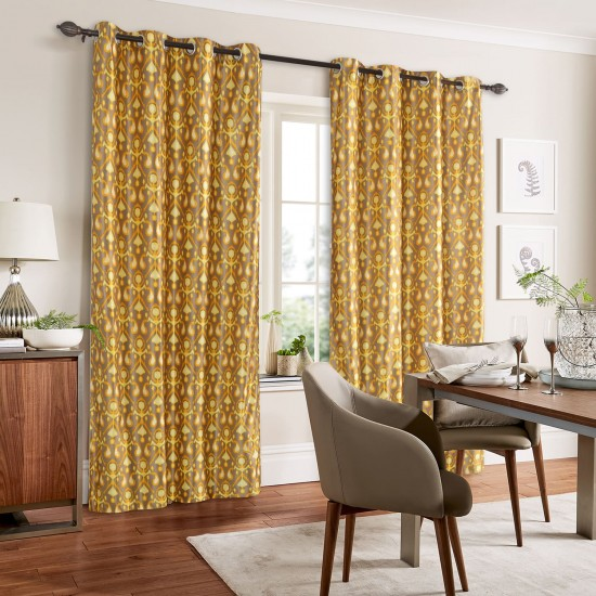 "7.5 ft Curtains Ikat (Set of 2) 46""x90"" Mimosa"