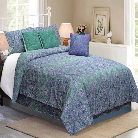 Bedding King Size 7 pc Set Czar Paisley Lavender