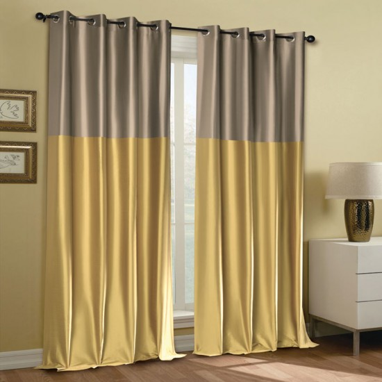 Curtain Modern Rap Mimosa Fossil Yellow w/Blackout S/2