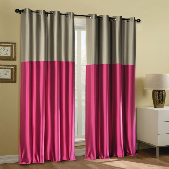 "Curtain 52"" x 90"" Modern Rap Pink Yerrow Blackout S/2"
