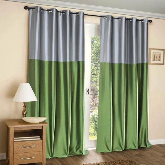 Curtain Modern Rap Lime Green Silver w/Blackout