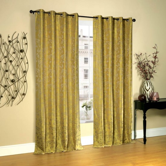 Curtain 52X90 Leaf Mimosa w/Blackout S/2