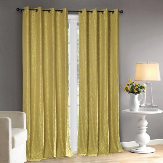 Curtain 52X90 Jaali Lime Green w/Blackout S/2