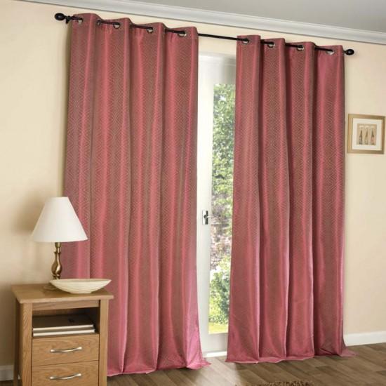 Curtain 52X60 Waves Pink Yerrow w/Blackout S/2