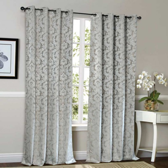 Curtain 52X90 Daffodil Metallic Grey w/Blackout S/2