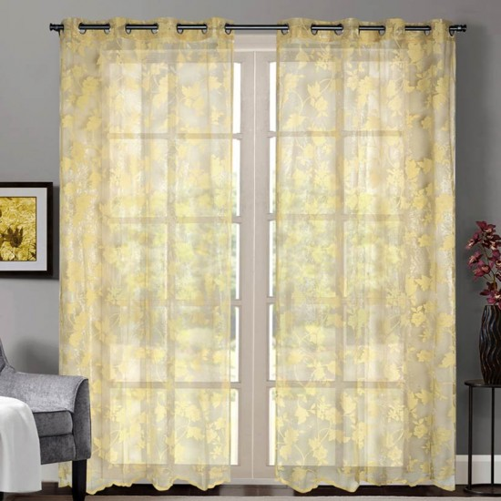 """Sheer Curtain Floral Rose Mineral Yellow 52""""x90'"""